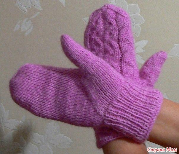 Варежки спицами палец клином мастер класс